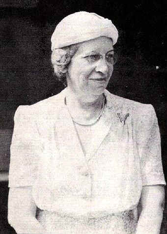 Mrs. W. W. MacFarlane, chairman of the May Market; Photo from The Delaware County Advocate - June 1942