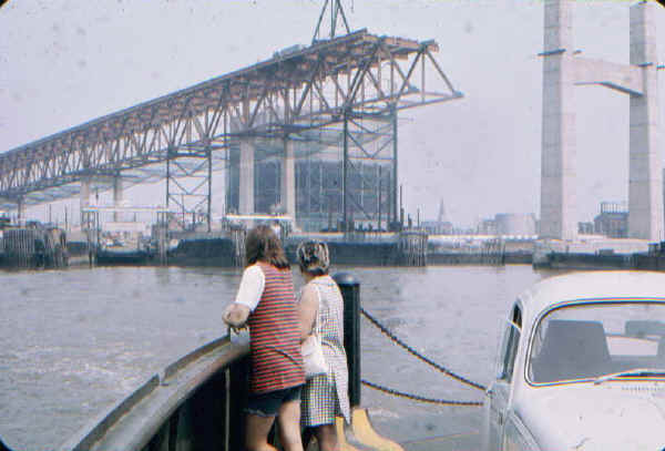 Commodore Barry Bridge Construction from the Ferry - 1973; Photo courtesy of Bill Folger, Media, PA