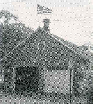 Garden City Original Fire House in 1952 with 2nd engine door; Photo courtesy of William H. Crystle, 3rd