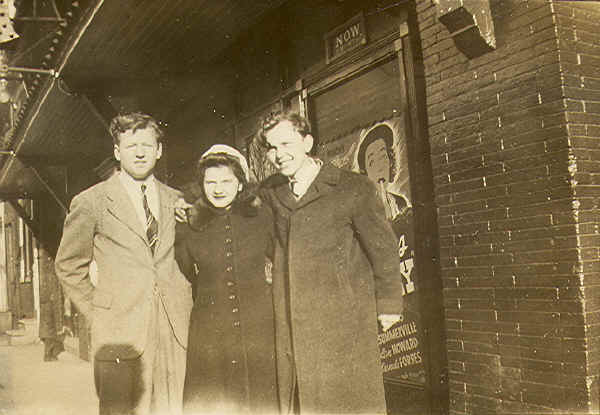 Lyric Theatre, c. 1943: Wally Wolenski, unknown, Eddie Piela; Photo courtesy of Wally Wolenski