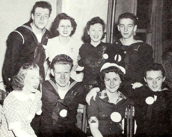 In this congenial group were: front row - Helen McCarthy, Walter Lou, Shirley Lox and Ed Brit; back row - Ed. Westennan, Eleanor Stein, Roselle Shapero and Bob D' Alessandro; Photo from The Delaware County Advocate, June 1942