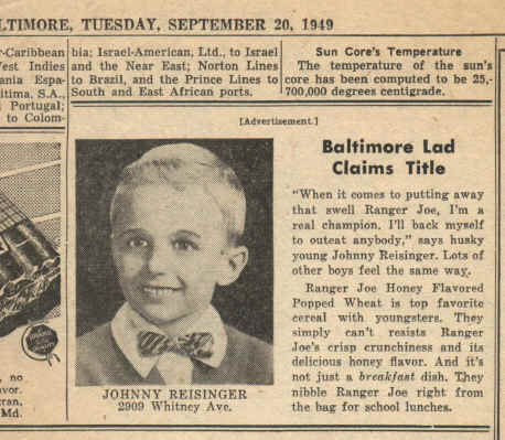 Ranger Joe Ad; John Reisinger, September 1949; Clipping courtesy of John Reisinger, January 2007