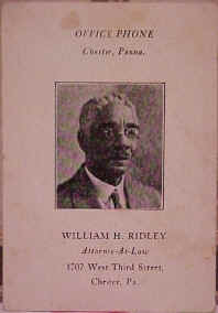 William Henry Ridley, Esq.'s Business Card; Photo courtesy of the Ridley Family Archives & Sam Lemon, great-grandson