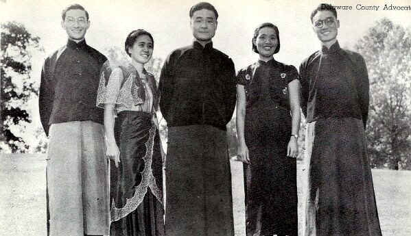 (left to right) Liang-Mo Liu, Shanghai, China; Irene J. Ledesma, Jaro, Iliolo, Philippine Islands; Homer C. Loh, Chekiang, China; Siu-Chi Huang, Fukin, China; and David T. C. Cheng, Hong Kong, China; Photo from The Delaware County Advocate, October 1940
