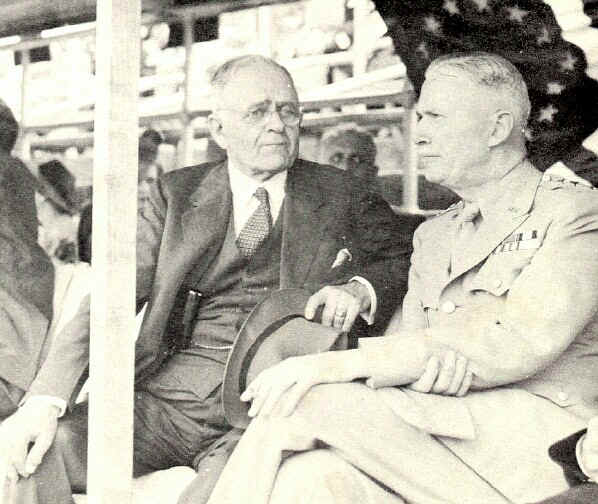 John G. Pew, president of Sun Shipbuilding and Drydock Company chats with Lt. General Brehon Burke Somervell, commander of U. S. Supply Services, as they watch the drilling - Photo from The Delaware County Advocate, June 1942