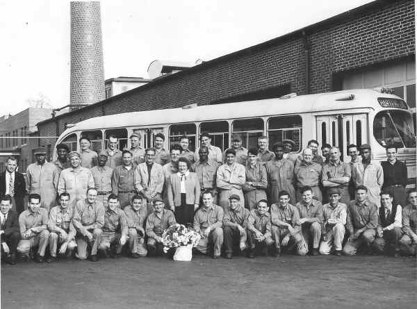 Southern Penn Bus Company Shop Employees, 1949; Photo courtesy of Paul Dougherty, Aston Twp. Historical Society