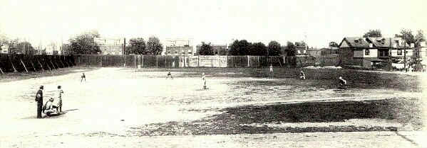 For several decades this baseball park occupied the land north of the B&O station in Chester, at 12th & Upland Streets; Photo from The Delaware County Advocate, April 1942